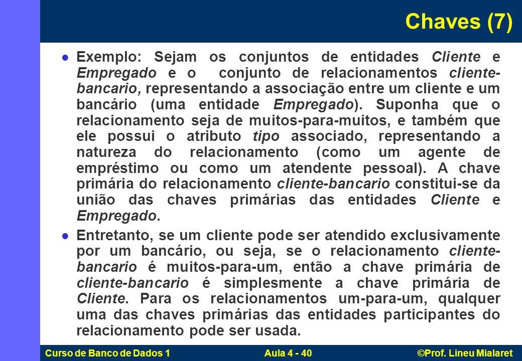 Curso de Banco de Dados 1 Aula 4 - 40 ©Prof. Lineu Mialaret Exemplo: Sejam os conjuntos de entidades Cliente e Empregado e o conjunto de relacionament