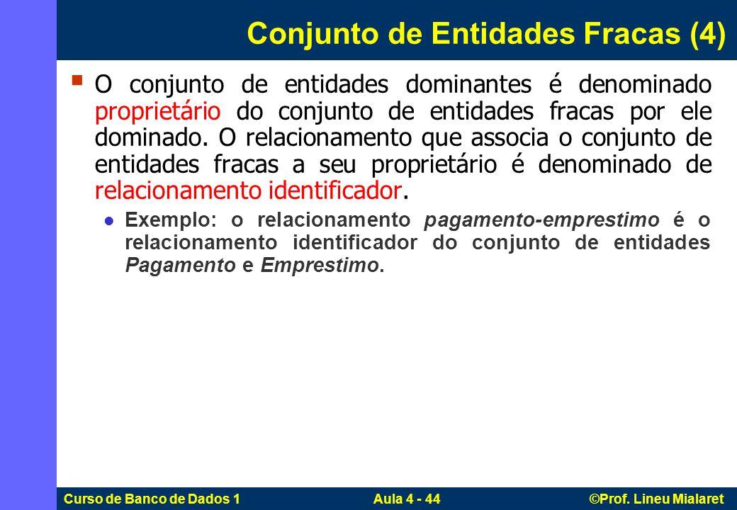 Curso de Banco de Dados 1 Aula 4 - 44 ©Prof. Lineu Mialaret Conjunto de Entidades Fracas (4) O conjunto de entidades dominantes é denominado proprietá