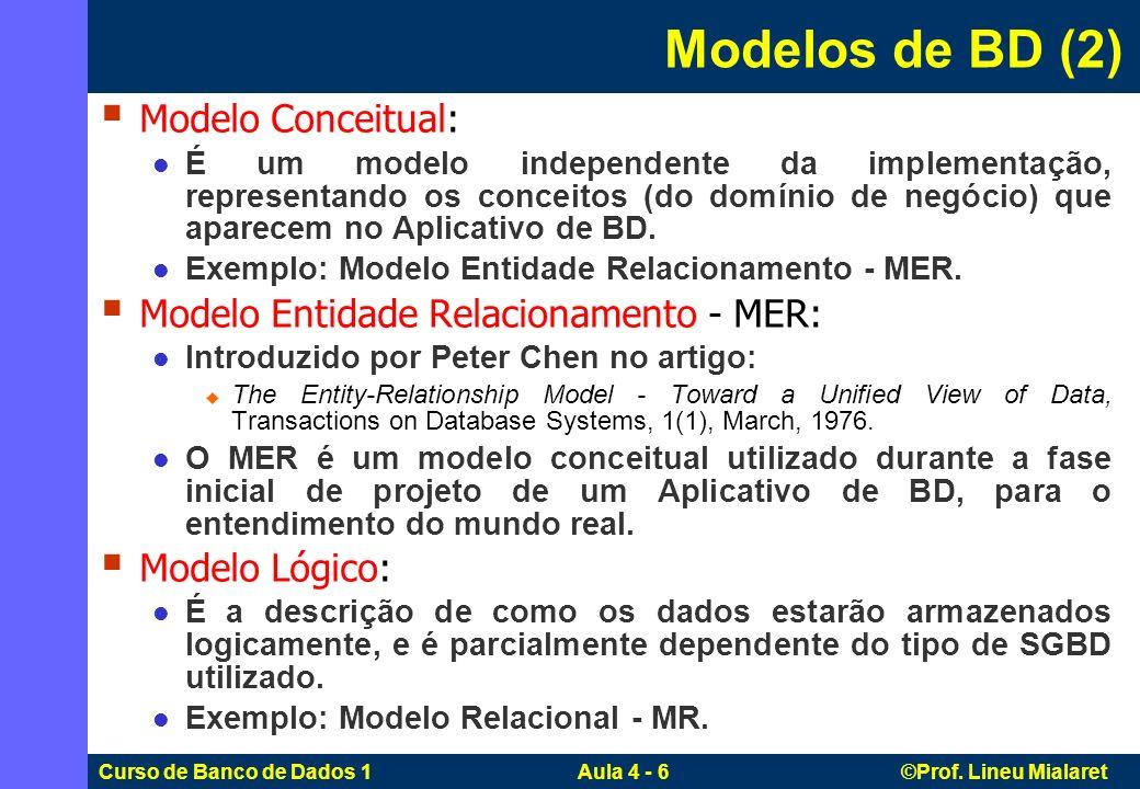Curso de Banco de Dados 1 Aula 4 - 6 ©Prof. Lineu Mialaret Modelo Conceitual: É um modelo independente da implementação, representando os conceitos (d