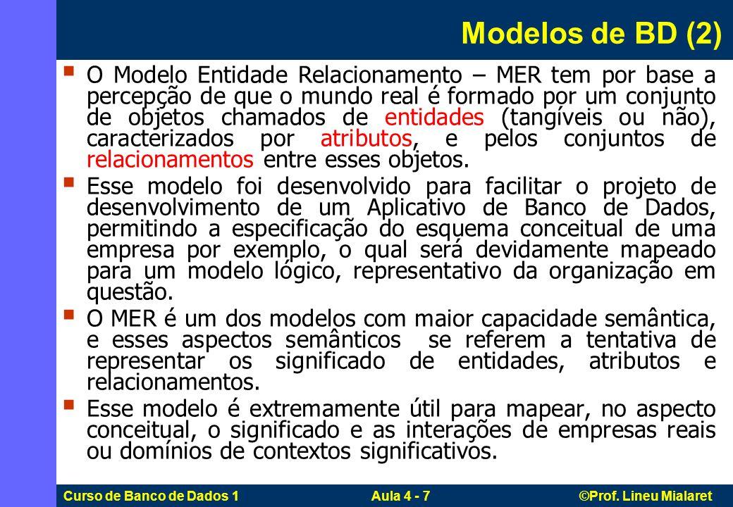 Curso de Banco de Dados 1 Aula 4 - 7 ©Prof. Lineu Mialaret O Modelo Entidade Relacionamento – MER tem por base a percepção de que o mundo real é forma