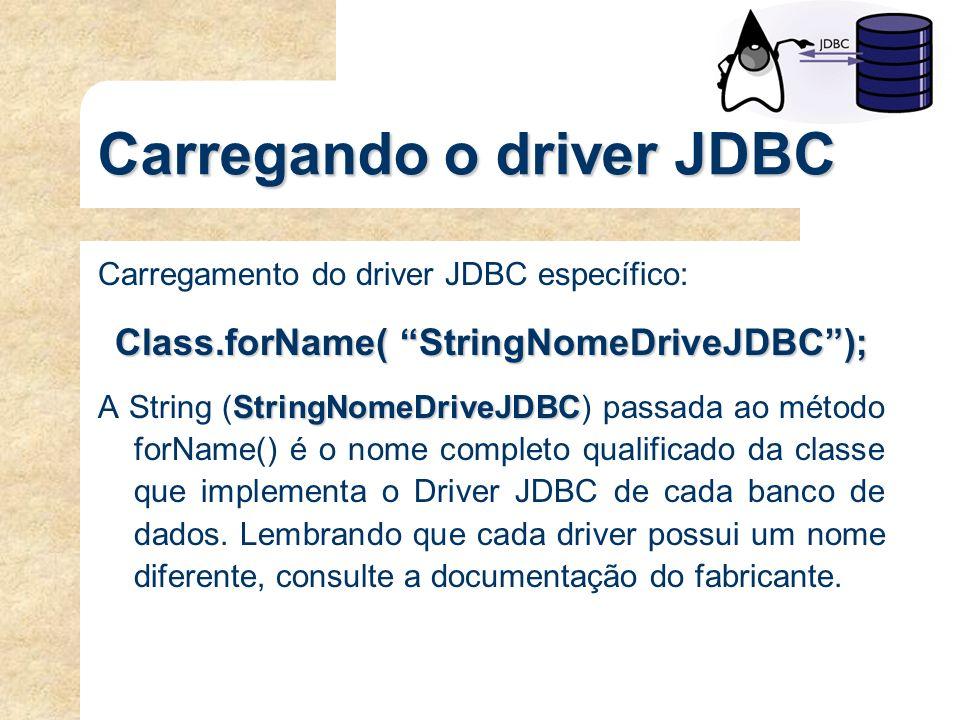 Carregando o driver JDBC Carregamento do driver JDBC específico: Class.forName( StringNomeDriveJDBC); StringNomeDriveJDBC A String (StringNomeDriveJDB