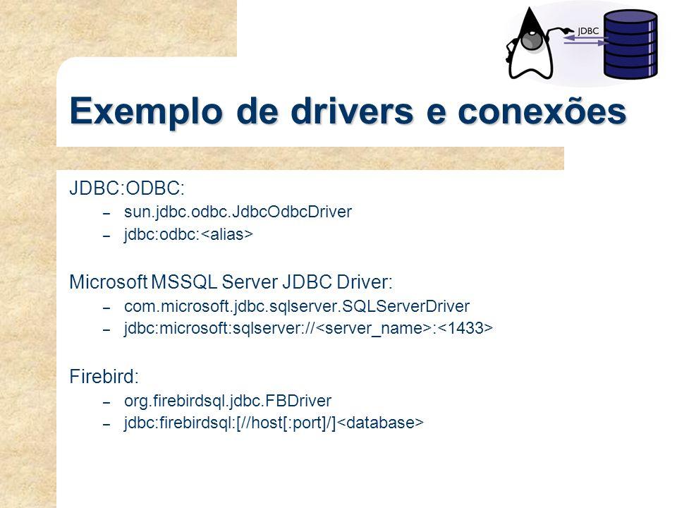 Exemplo de drivers e conexões JDBC:ODBC: – sun.jdbc.odbc.JdbcOdbcDriver – jdbc:odbc: Microsoft MSSQL Server JDBC Driver: – com.microsoft.jdbc.sqlserve