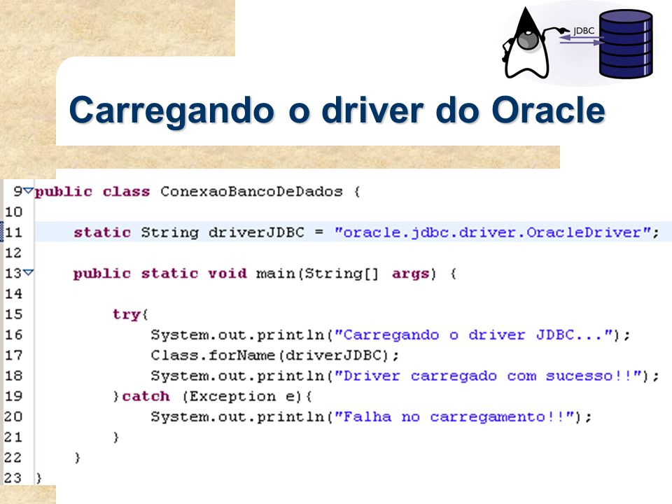 Carregando o driver do Oracle