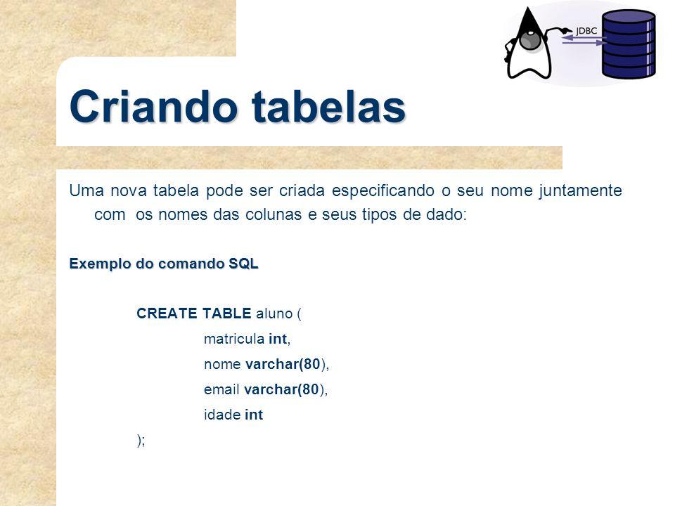Criando tabelas Uma nova tabela pode ser criada especificando o seu nome juntamente com os nomes das colunas e seus tipos de dado: Exemplo do comando