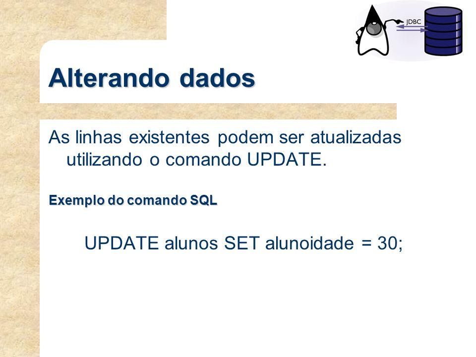 Alterando dados As linhas existentes podem ser atualizadas utilizando o comando UPDATE. Exemplo do comando SQL UPDATE alunos SET alunoidade = 30;