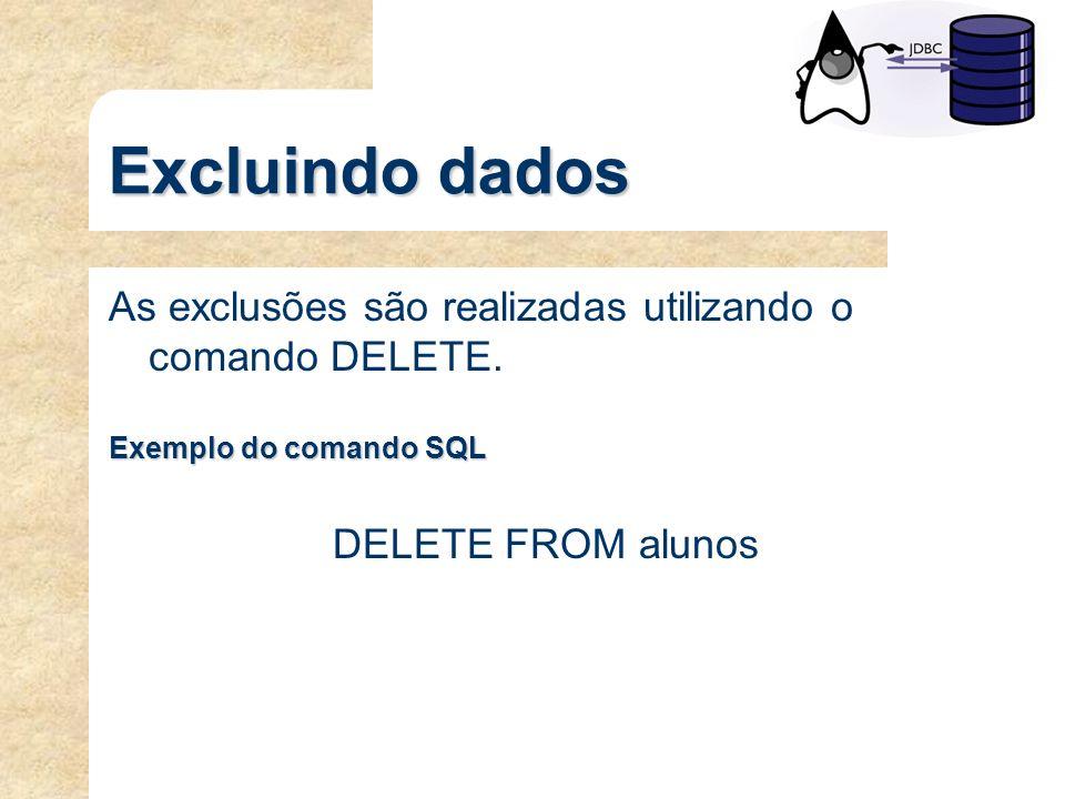 Excluindo dados As exclusões são realizadas utilizando o comando DELETE. Exemplo do comando SQL DELETE FROM alunos