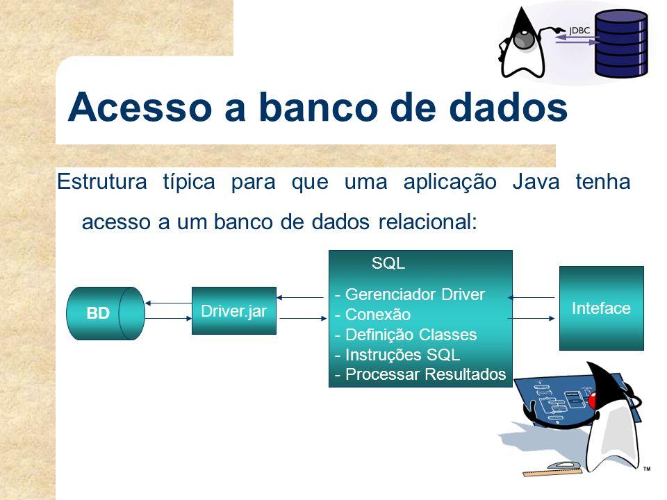 Acesso ao banco de dados Para que uma aplicação Java tenha acesso a um banco de dados relacional os seguintes passos devem ser atendidos: driver JDBC driver JDBC – Habilitar o driver JDBC a partir da aplicação cliente;driver JDBC conexão conexão – Estabelecer uma conexão entre a aplicação cliente e servidor do banco de dados;conexão – Montar e executar a instrução SQL desejada; e resultado resultado – Processar no cliente o resultado da consulta.resultado