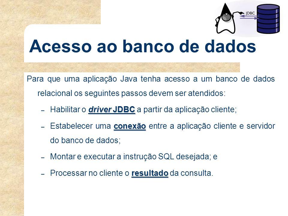 Acesso ao banco de dados Para que uma aplicação Java tenha acesso a um banco de dados relacional os seguintes passos devem ser atendidos: driver JDBC