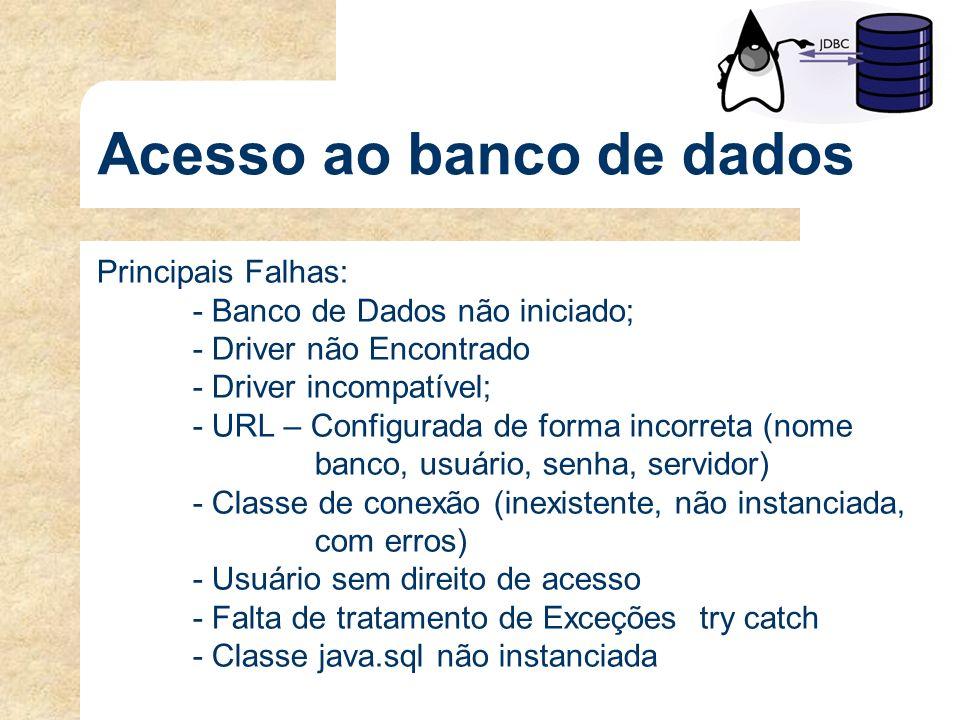 Acesso ao banco de dados Principais Falhas: - Banco de Dados não iniciado; - Driver não Encontrado - Driver incompatível; - URL – Configurada de forma