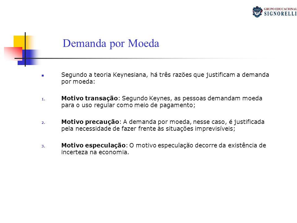 Segundo a teoria Keynesiana, há três razões que justificam a demanda por moeda: 1. Motivo transação: Segundo Keynes, as pessoas demandam moeda para o