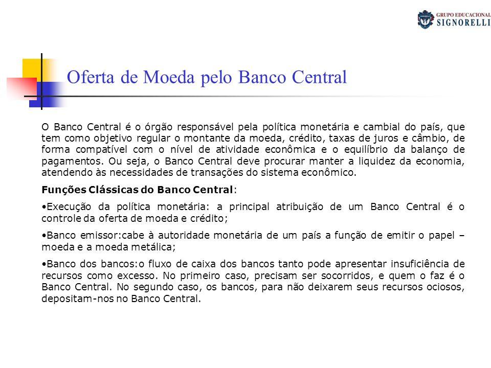 Banco do governo: cabe ao Banco Central receber depósitos do governo e lhe conceder créditos; Controle e regulamentação da oferta de moeda: que é uma função normativa regula a moeda e crédito do sistema econômico.