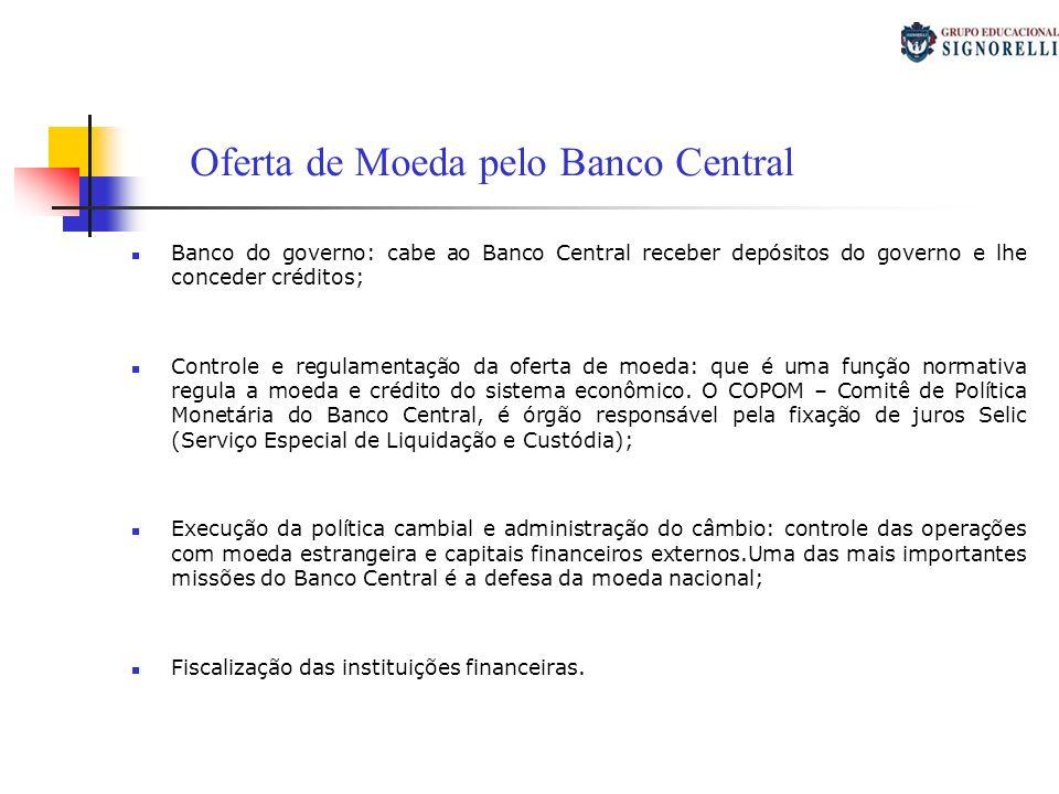 Banco do governo: cabe ao Banco Central receber depósitos do governo e lhe conceder créditos; Controle e regulamentação da oferta de moeda: que é uma