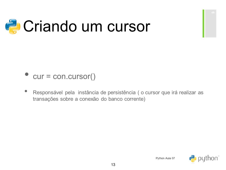 13 Criando um cursor cur = con.cursor() Responsável pela instância de persistência ( o cursor que irá realizar as transações sobre a conexão do banco