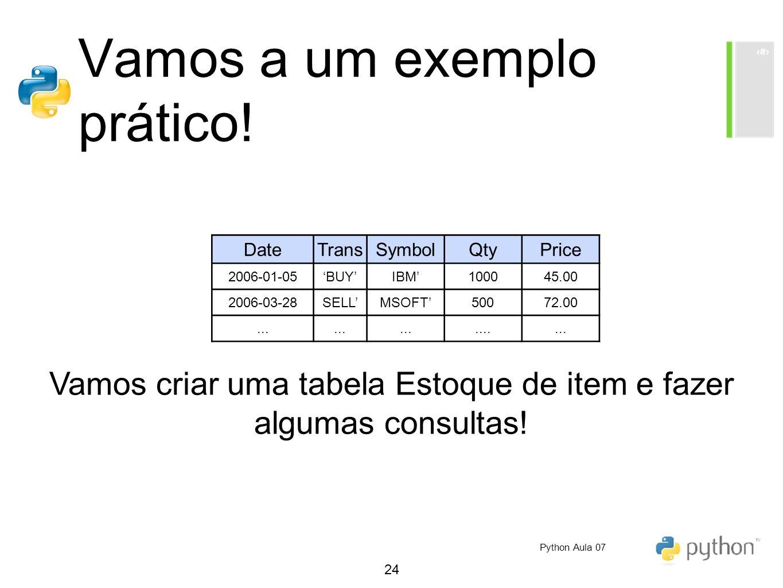 24 Vamos a um exemplo prático! Vamos criar uma tabela Estoque de item e fazer algumas consultas! DateTransSymbolQtyPrice 2006-01-05BUYIBM100045.00 200