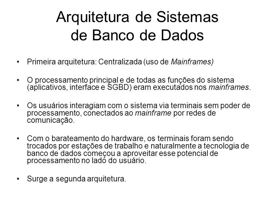 Arquitetura de Sistemas de Banco de Dados Primeira arquitetura: Centralizada (uso de Mainframes) O processamento principal e de todas as funções do sistema (aplicativos, interface e SGBD) eram executados nos mainframes.