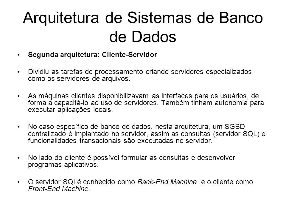 Arquitetura de Sistemas de Banco de Dados Segunda arquitetura: Cliente-Servidor Dividiu as tarefas de processamento criando servidores especializados como os servidores de arquivos.