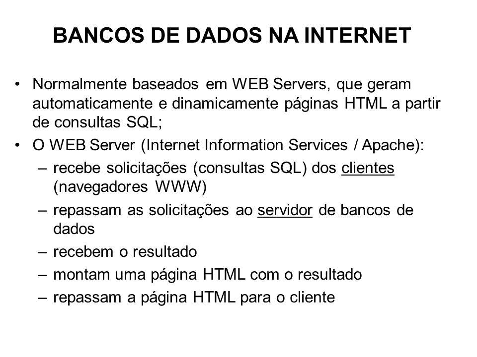 Normalmente baseados em WEB Servers, que geram automaticamente e dinamicamente páginas HTML a partir de consultas SQL; O WEB Server (Internet Information Services / Apache): –recebe solicitações (consultas SQL) dos clientes (navegadores WWW) –repassam as solicitações ao servidor de bancos de dados –recebem o resultado –montam uma página HTML com o resultado –repassam a página HTML para o cliente BANCOS DE DADOS NA INTERNET
