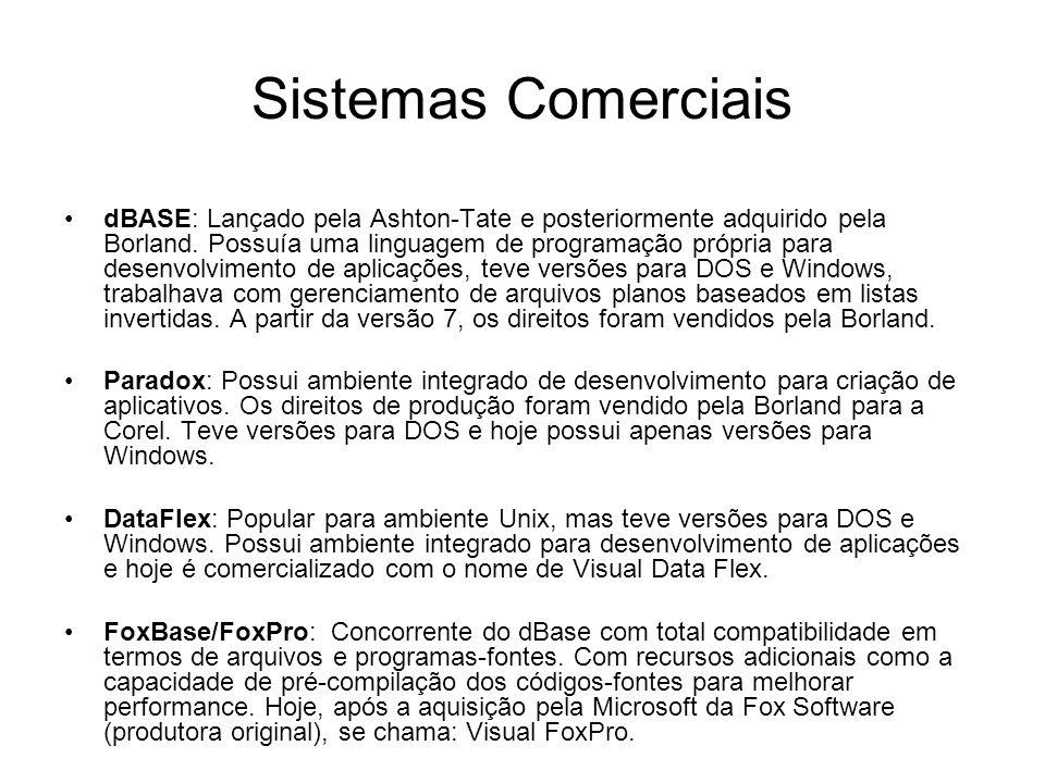 Sistemas Comerciais dBASE: Lançado pela Ashton-Tate e posteriormente adquirido pela Borland.