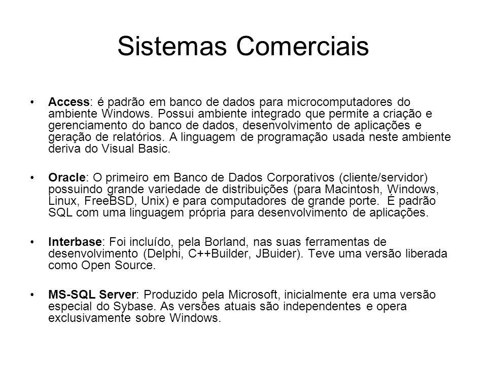 Sistemas Comerciais Access: é padrão em banco de dados para microcomputadores do ambiente Windows.