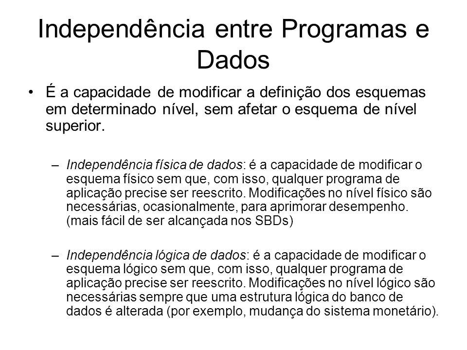 Independência entre Programas e Dados É a capacidade de modificar a definição dos esquemas em determinado nível, sem afetar o esquema de nível superior.