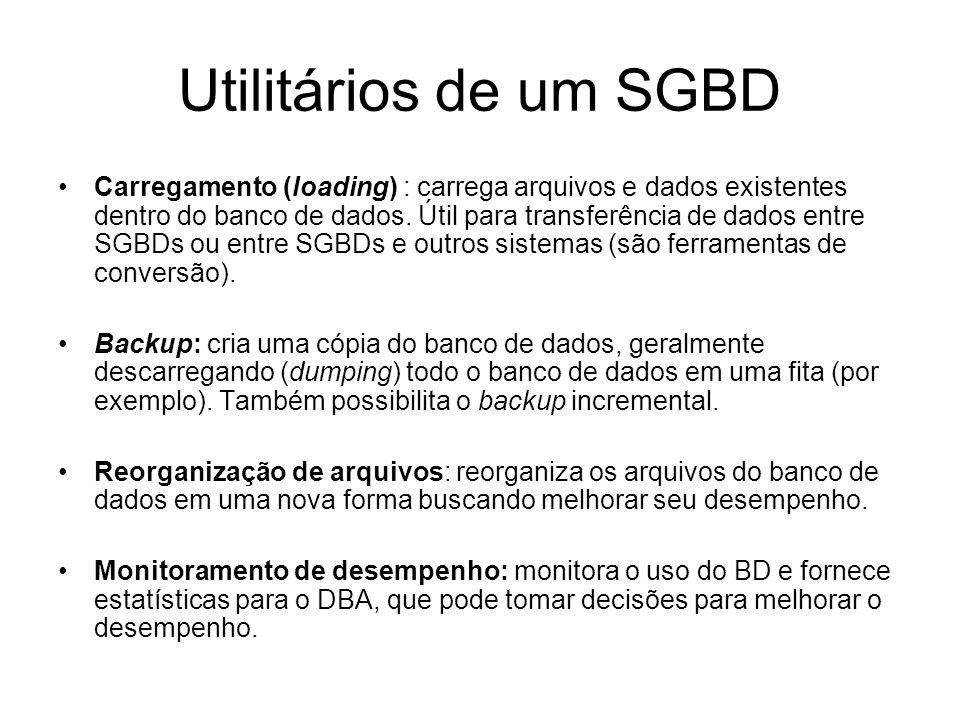 Utilitários de um SGBD Carregamento (loading) : carrega arquivos e dados existentes dentro do banco de dados.
