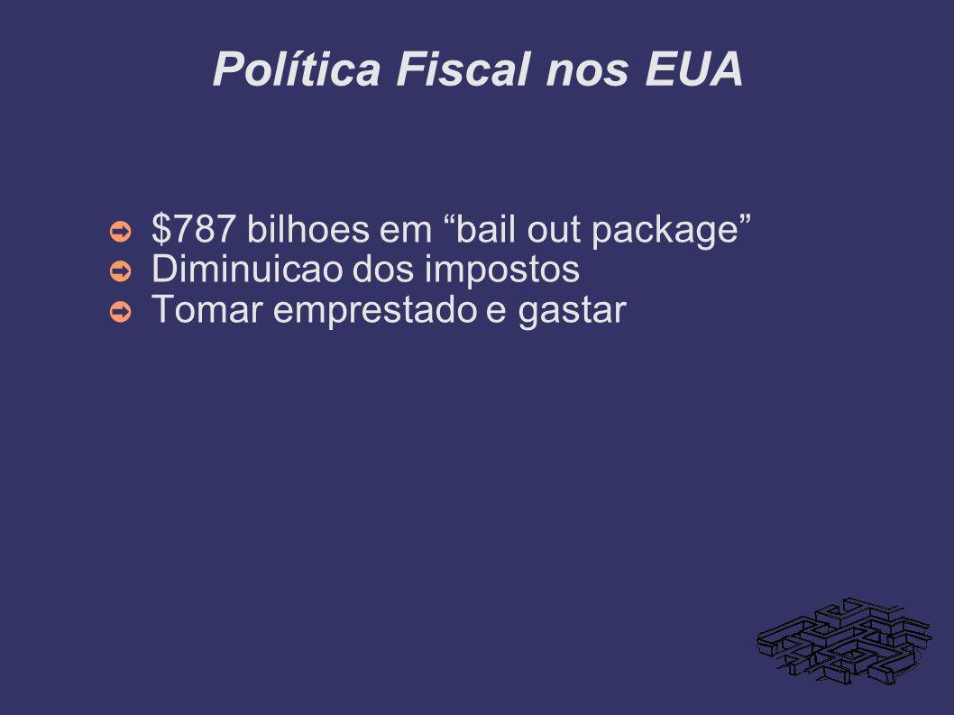 Política Fiscal nos EUA $787 bilhoes em bail out package Diminuicao dos impostos Tomar emprestado e gastar