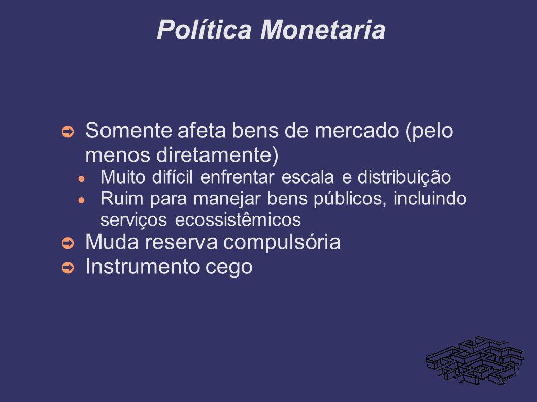 Política Monetaria Somente afeta bens de mercado (pelo menos diretamente) Muito difícil enfrentar escala e distribuição Ruim para manejar bens público
