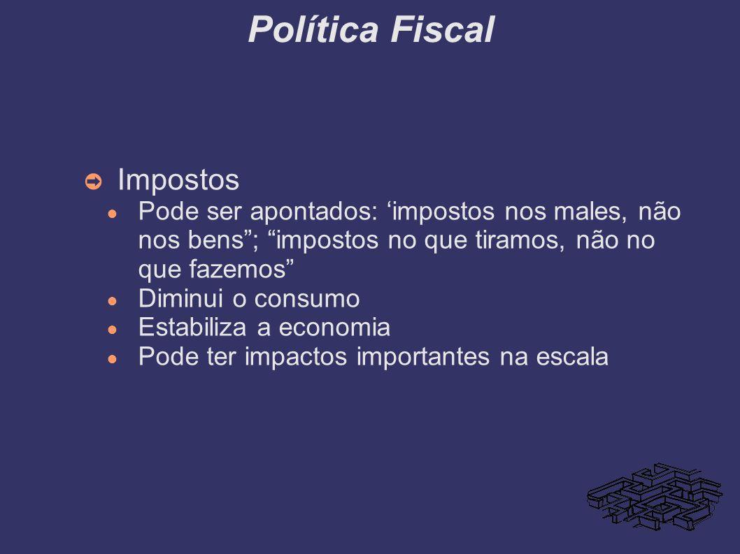 Política Fiscal Impostos Pode ser apontados: impostos nos males, não nos bens; impostos no que tiramos, não no que fazemos Diminui o consumo Estabiliz