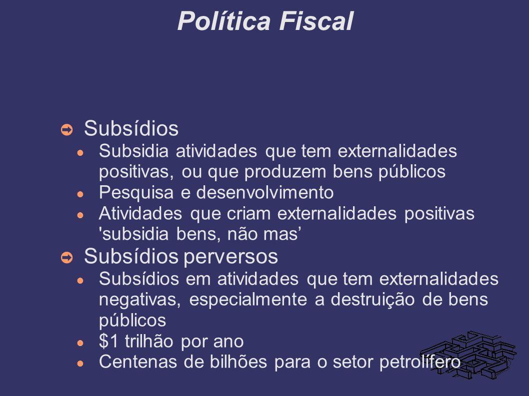 Política Fiscal Subsídios Subsidia atividades que tem externalidades positivas, ou que produzem bens públicos Pesquisa e desenvolvimento Atividades qu