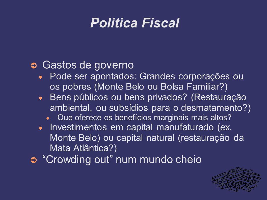 Politica Fiscal Gastos de governo Pode ser apontados: Grandes corporações ou os pobres (Monte Belo ou Bolsa Familiar?) Bens públicos ou bens privados?