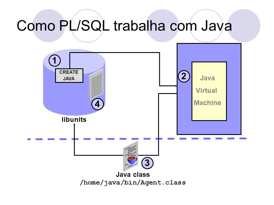 Como PL/SQL trabalha com Java libunits Java class /home/java/bin/Agent.class 1 3 Java Virtual Machine 2 CREATE JAVA 4