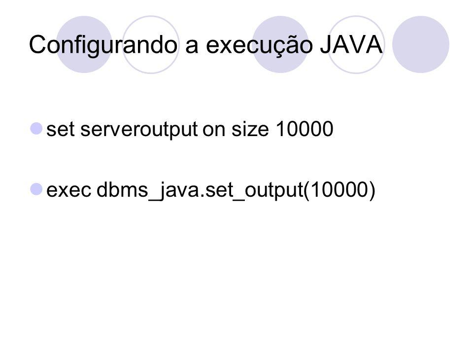 Configurando a execução JAVA set serveroutput on size 10000 exec dbms_java.set_output(10000)