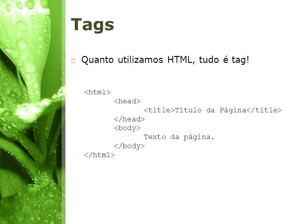 Tags Quanto utilizamos HTML, tudo é tag! Título da Página Texto da página.