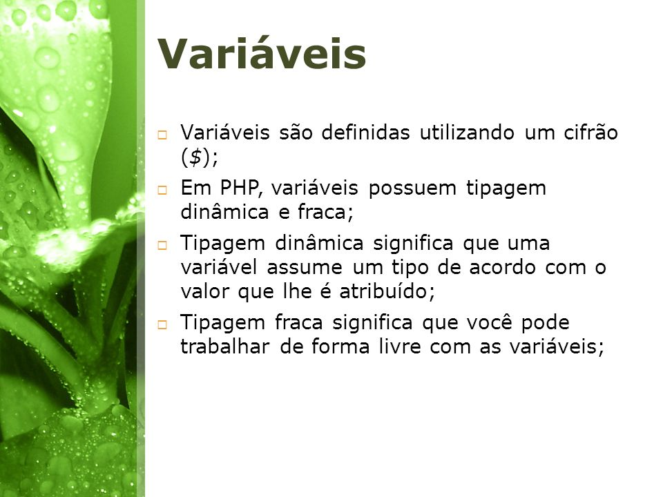 Variáveis Variáveis são definidas utilizando um cifrão ($); Em PHP, variáveis possuem tipagem dinâmica e fraca; Tipagem dinâmica significa que uma var