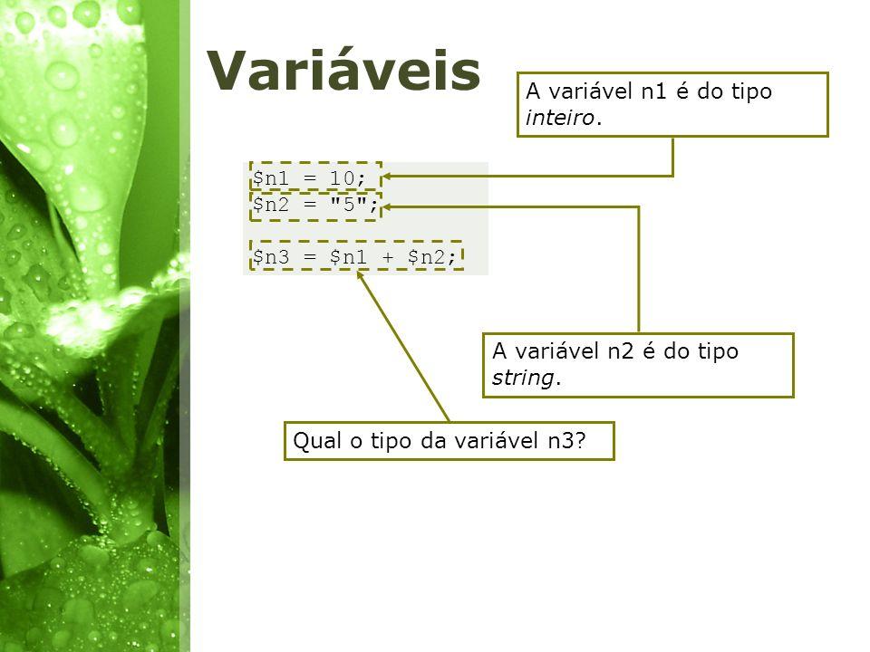 Variáveis $n1 = 10; $n2 =