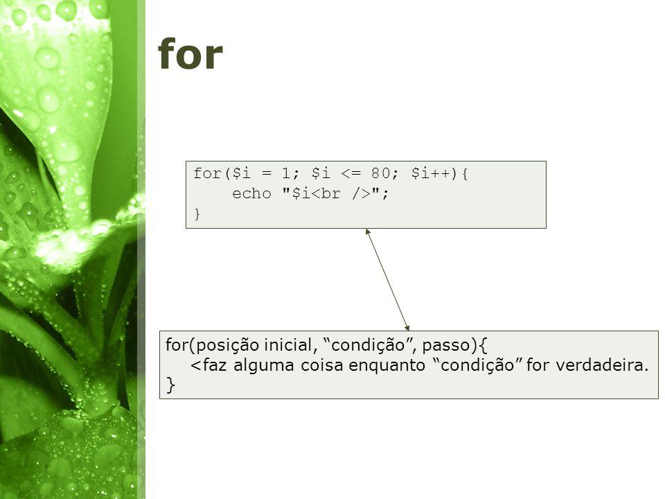 for for($i = 1; $i <= 80; $i++){ echo