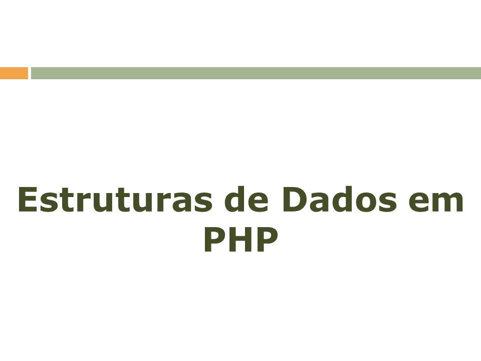 Estruturas de Dados PHP suporta apenas uma estrutura de dados: o array/vetor; Mas não se engane com o array do PHP; O array do PHP consegue ser a implementação de praticamente todas as estruturas de dados: vetor, matriz, lista, pilha, fila, tabela hash, etc.;