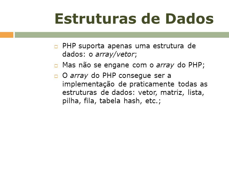 Estruturas de Dados PHP suporta apenas uma estrutura de dados: o array/vetor; Mas não se engane com o array do PHP; O array do PHP consegue ser a impl