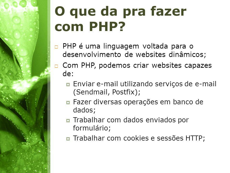 O que da pra fazer com PHP? PHP é uma linguagem voltada para o desenvolvimento de websites dinâmicos; Com PHP, podemos criar websites capazes de: Envi