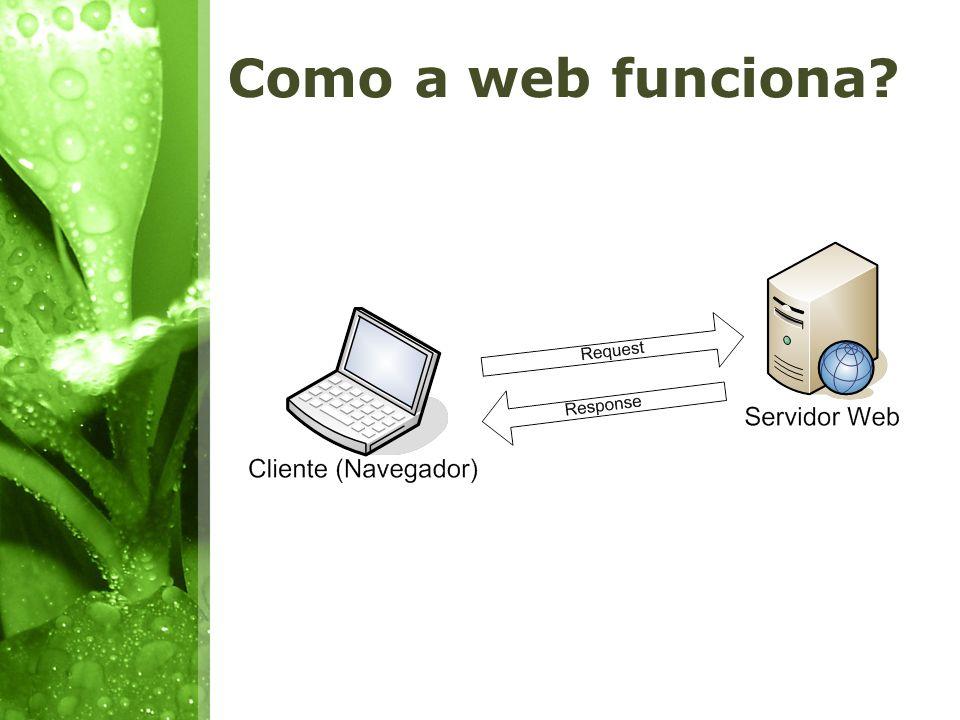 Cliente x Servidor Na web, como em qualquer arquitetura Cliente x Servidor, o funcionamento baseia- se em requisição de um cliente (Internet Explorer, Firefox, Safari, Opera, etc.) a um servidor (Apache, Internet Information Service, Glassfish, etc.) e resposta de um servidor a um cliente; Quando há acesso a banco de dados, o servidor trabalha de forma diferenciada, pois a implementação de um servidor web é um serviço diferente à implementação de um servidor de banco de dados;