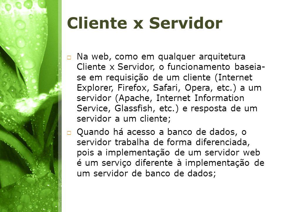 Cliente x Servidor Na web, como em qualquer arquitetura Cliente x Servidor, o funcionamento baseia- se em requisição de um cliente (Internet Explorer,