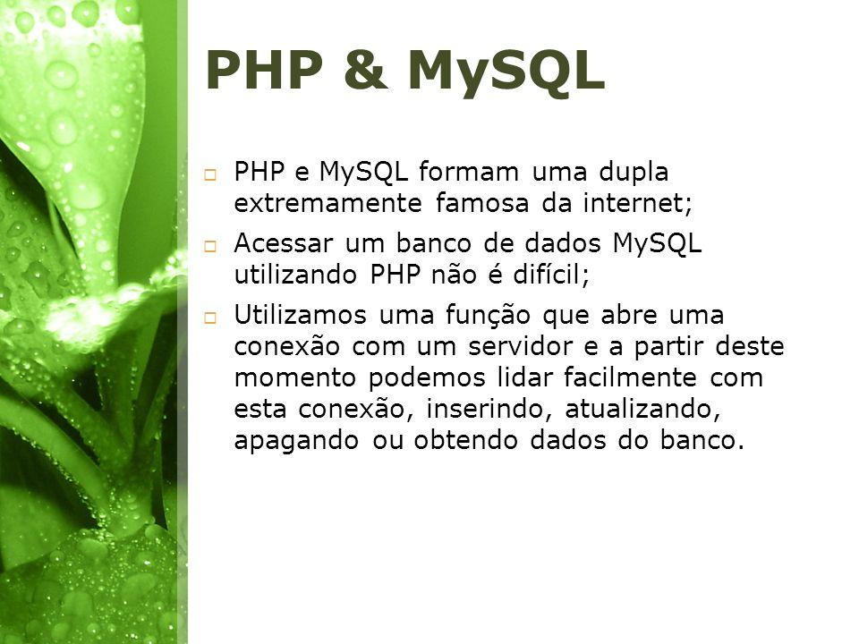 PHP & MySQL PHP e MySQL formam uma dupla extremamente famosa da internet; Acessar um banco de dados MySQL utilizando PHP não é difícil; Utilizamos uma