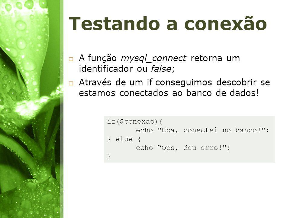Testando a conexão A função mysql_connect retorna um identificador ou false; Através de um if conseguimos descobrir se estamos conectados ao banco de