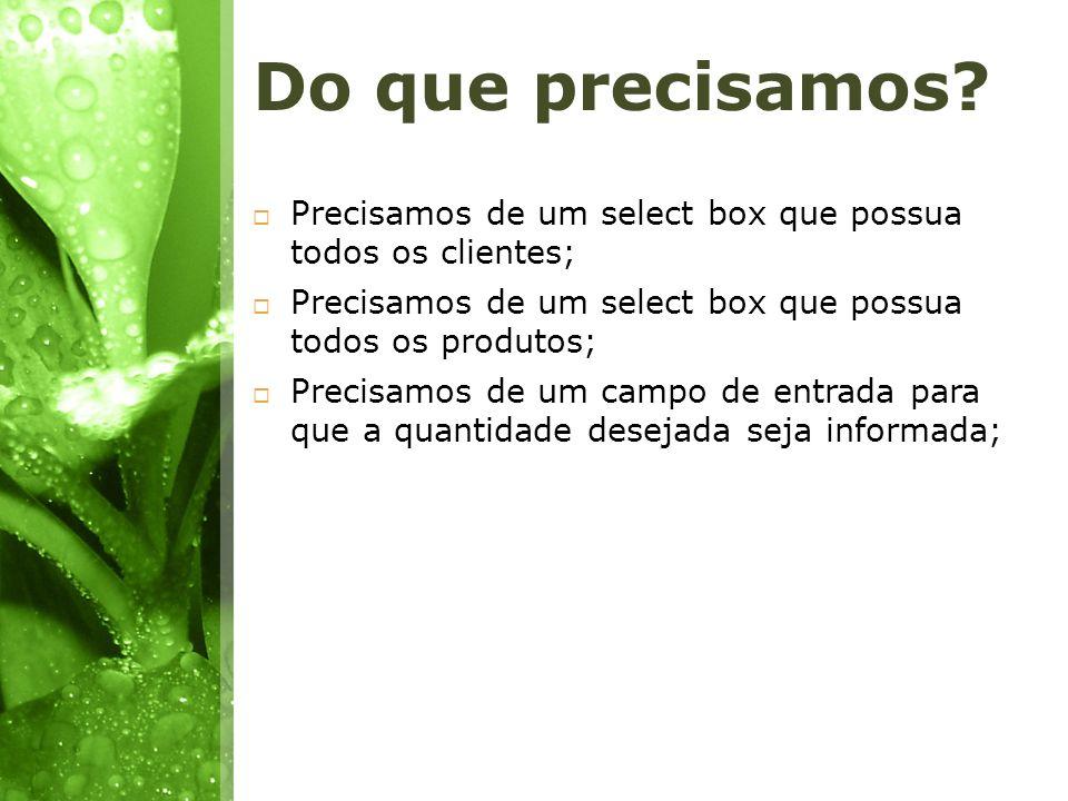 Do que precisamos? Precisamos de um select box que possua todos os clientes; Precisamos de um select box que possua todos os produtos; Precisamos de u