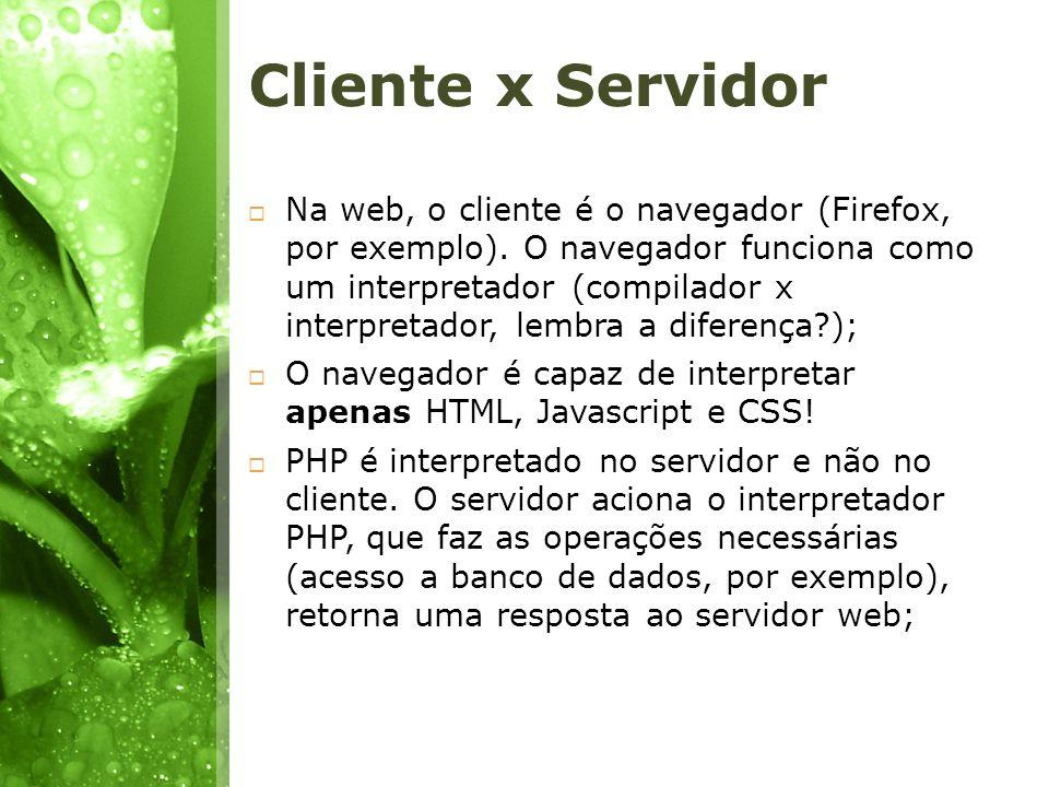 Cliente x Servidor Na web, o cliente é o navegador (Firefox, por exemplo). O navegador funciona como um interpretador (compilador x interpretador, lem