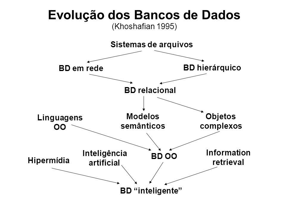 Evolução dos Bancos de Dados (Khoshafian 1995) Sistemas de arquivos BD em rede BD hierárquico BD relacional Linguagens OO Modelos semânticos Objetos c