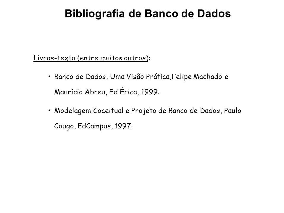 Bibliografia de Banco de Dados Livros-texto (entre muitos outros): Banco de Dados, Uma Visão Prática,Felipe Machado e Mauricio Abreu, Ed Érica, 1999.