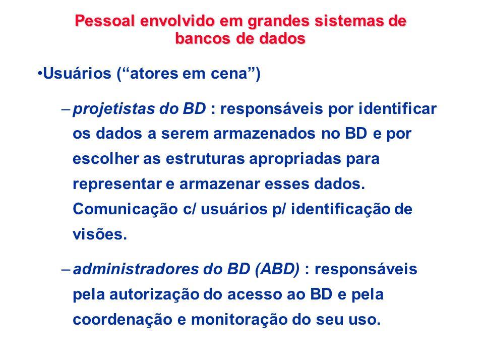 Pessoal envolvido em grandes sistemas de bancos de dados Usuários (atores em cena) –projetistas do BD : responsáveis por identificar os dados a serem