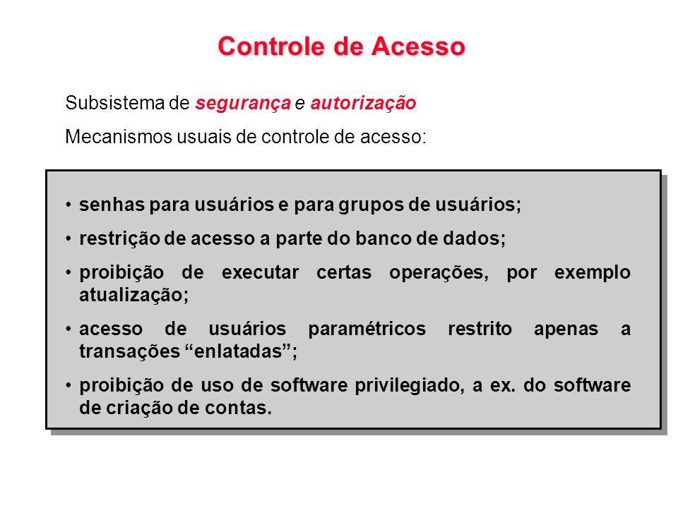 Controle de Acesso Subsistema de segurança e autorização Mecanismos usuais de controle de acesso: senhas para usuários e para grupos de usuários; rest