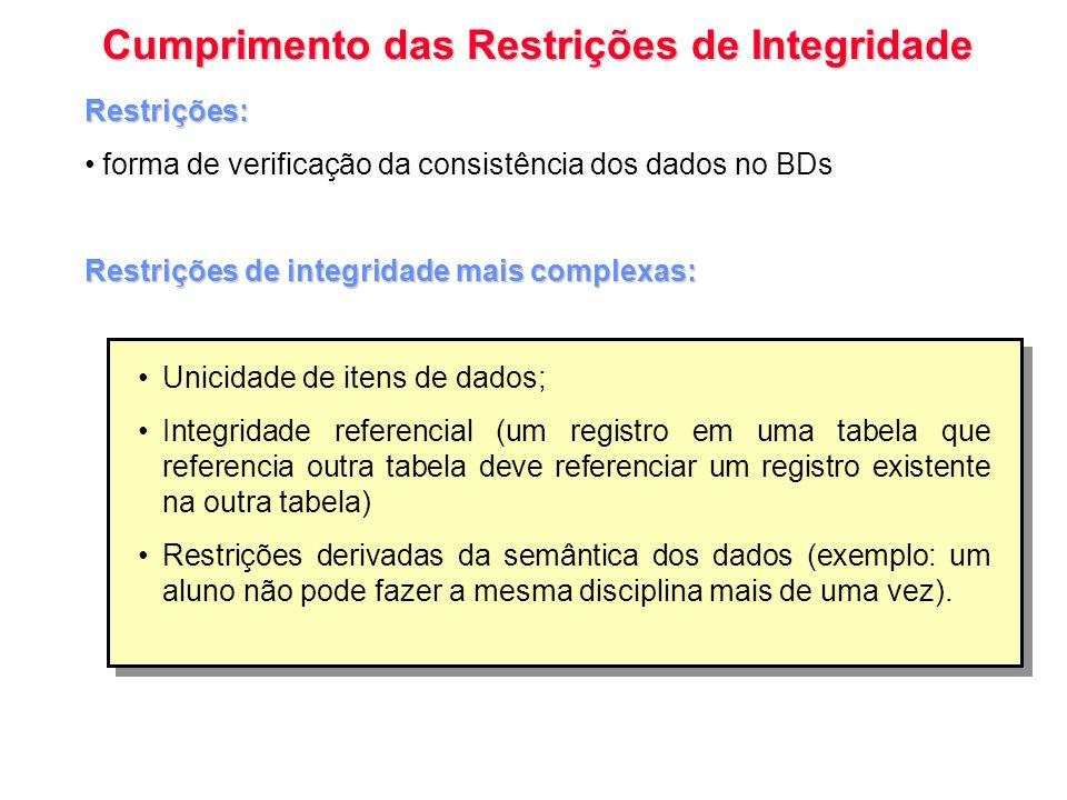 Cumprimento das Restrições de Integridade Restrições: forma de verificação da consistência dos dados no BDs Restrições de integridade mais complexas: